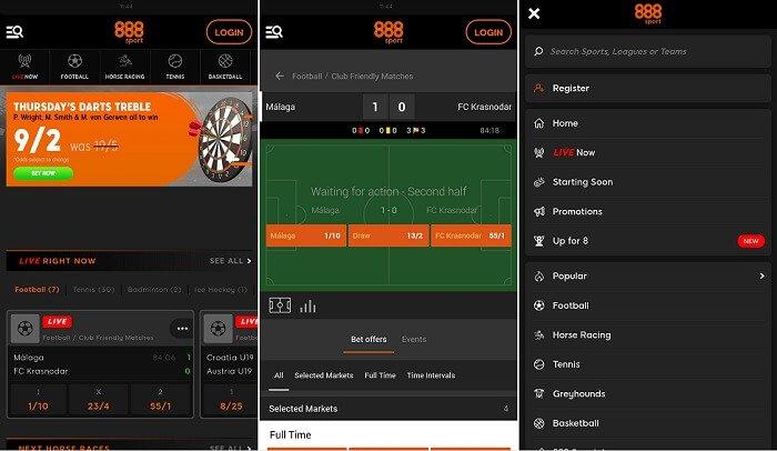 Screenshots 888Sport mobile app
