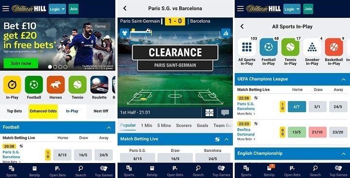The latest version of the William Hill mobile app
