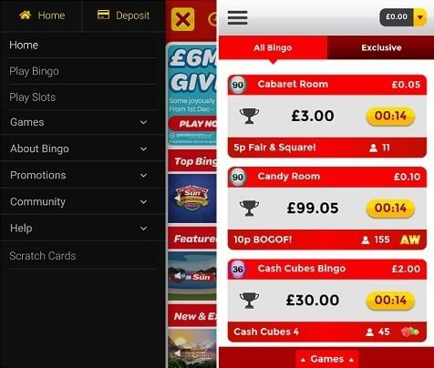 The Sun Bingo app for Android & iPhone