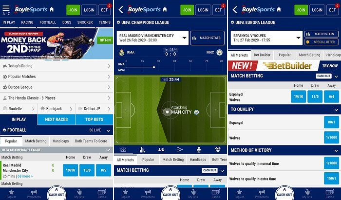 Screenshots of the BoyleSports betting app