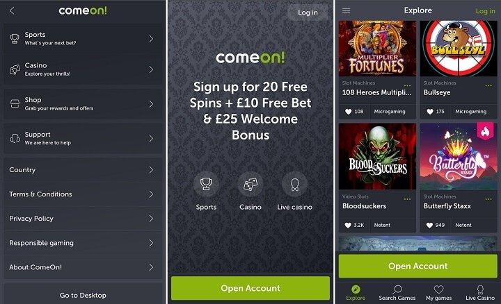 ComeOn mobile casino app