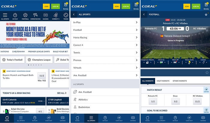 Coral mobile platform screenshots