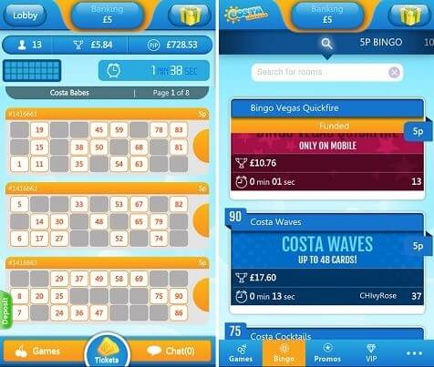 Costa bingo mobile app