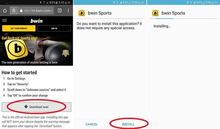bwins mobile app for Android