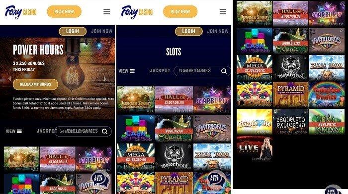 Foxy casino's mobile app