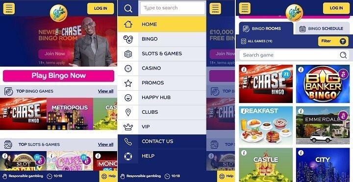 Games on the Gala bingo app