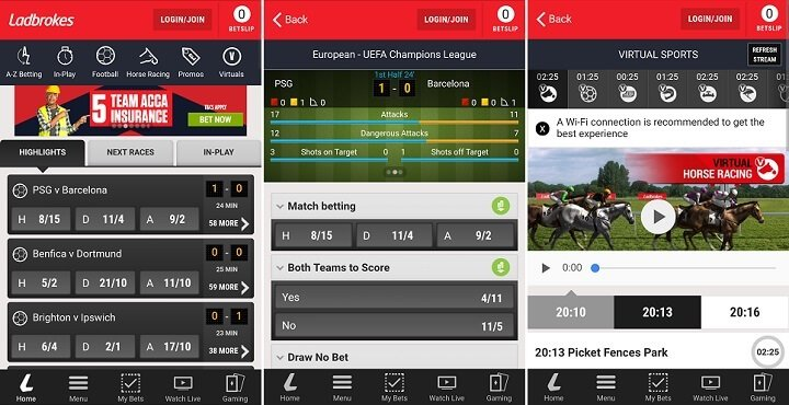 Ladbrokes mobile app screenshots