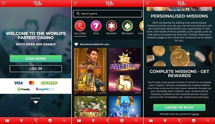 Rolla casino mobile app on Android & iPhone