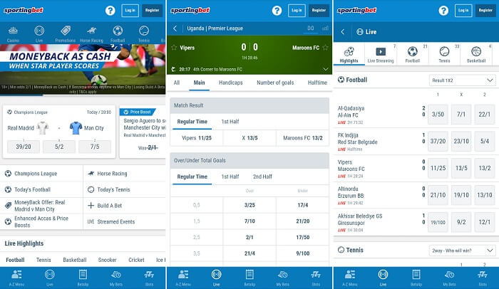 Screenshots of the Sportingbet mobile platform