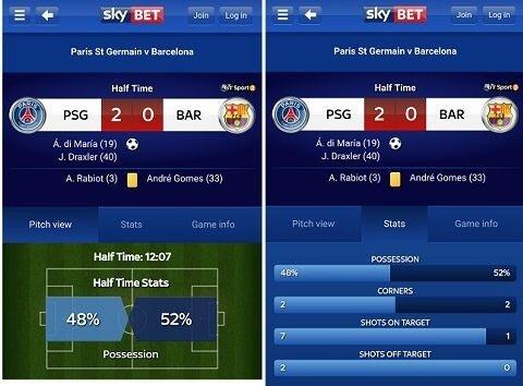 Sky Bet Android app screenshots