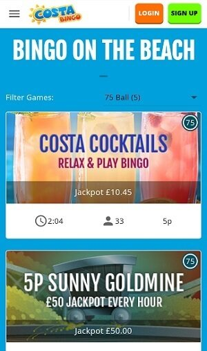 Games on the Costa bingo mobile site