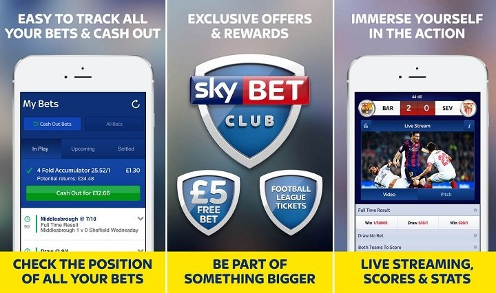 Screenshots of the Sky Bet iPhone app
