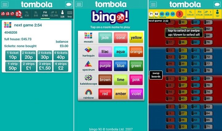 screenshots of the tombola app