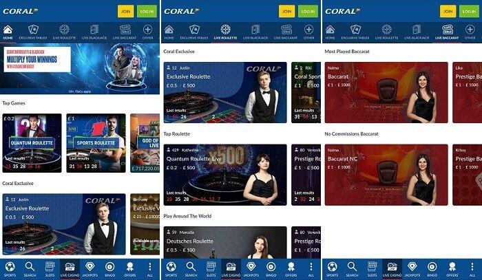 Coral live casino app