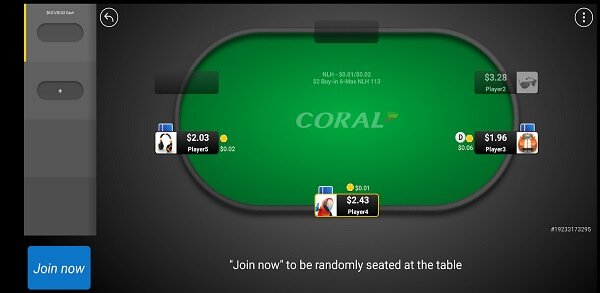 Coral poker Android app